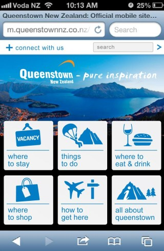 QueenstownNZ mobile site homepage